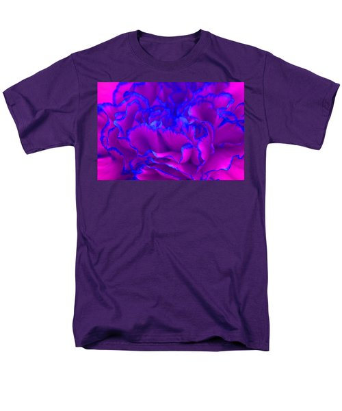 Men's T-Shirt  (Regular Fit) featuring the photograph Bold Fuschia Pink And Blue Carnation Flower by Shelley Neff