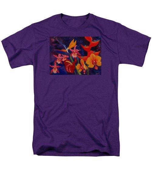 Bold Tropical Flowers Men's T-Shirt  (Regular Fit) by Kerri Ligatich