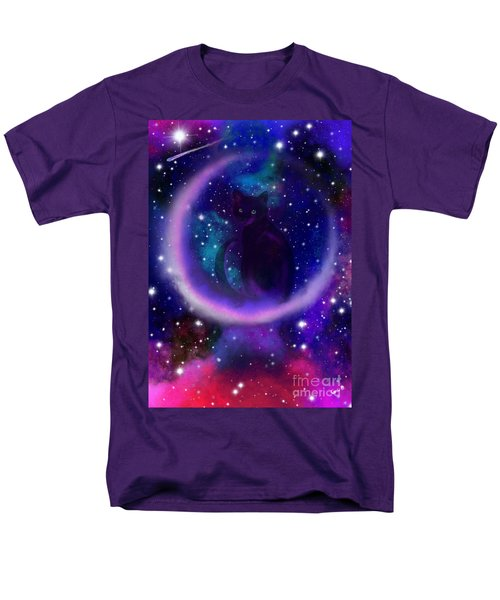 Men's T-Shirt  (Regular Fit) featuring the painting Celestial Crescent Moon Cat  by Nick Gustafson