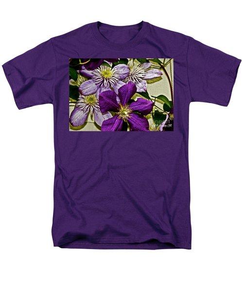 Purple Clematis Flower Vines Men's T-Shirt  (Regular Fit) by Carol F Austin