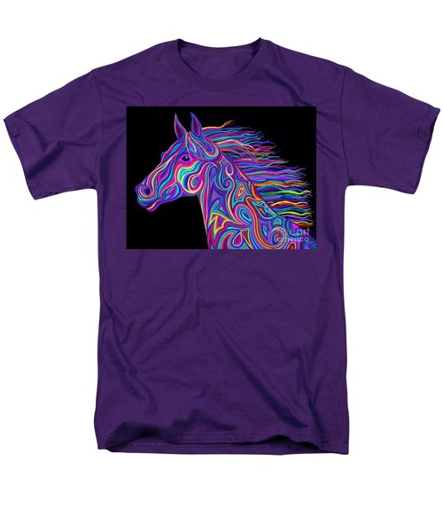Men's T-Shirt  (Regular Fit) featuring the drawing Colorful Rainbow Stallion  by Nick Gustafson
