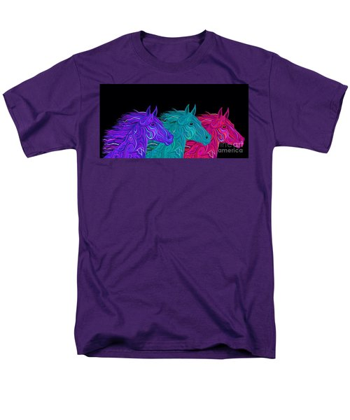 Men's T-Shirt  (Regular Fit) featuring the drawing Colorful Stallions  by Nick Gustafson