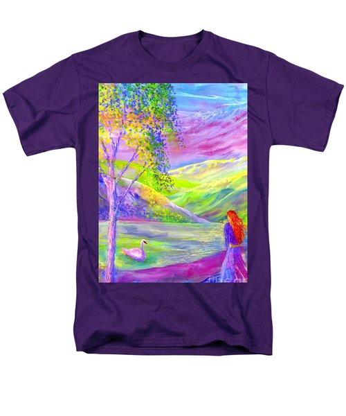Men's T-Shirt  (Regular Fit) featuring the painting Crystal Pond, Silver Birch Tree And Swan by Jane Small