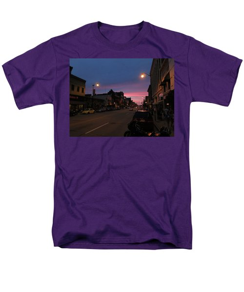 Men's T-Shirt  (Regular Fit) featuring the photograph Downtown Racine At Dusk by Mark Czerniec