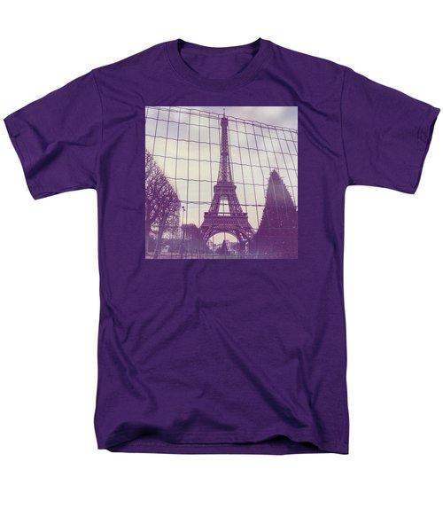 Eiffel Tower Through Fence Men's T-Shirt  (Regular Fit) by Aurella FollowMyFrench