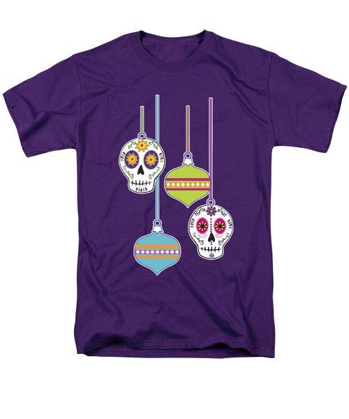 Feliz Navidad Holiday Sugar Skulls Men's T-Shirt  (Regular Fit) by Tammy Wetzel