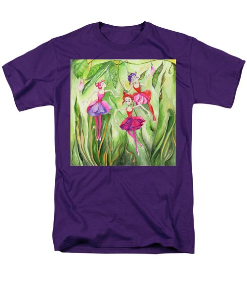 Men's T-Shirt  (Regular Fit) featuring the painting Fuschia On Discovering The Truth by Nadine Dennis