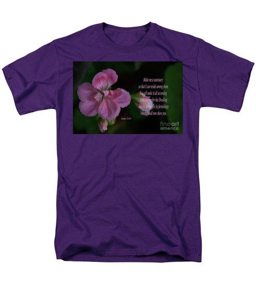Geranium After The Rain Scripture Men's T-Shirt  (Regular Fit) by Debby Pueschel