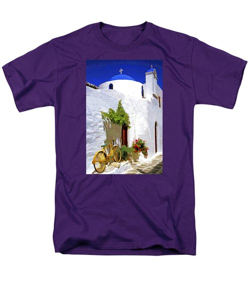 Men's T-Shirt  (Regular Fit) featuring the photograph Greek Church With Bike by Dennis Cox WorldViews