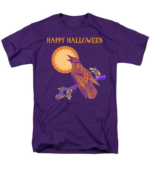 Halloween Crow And Moon Men's T-Shirt  (Regular Fit) by Tammy Wetzel