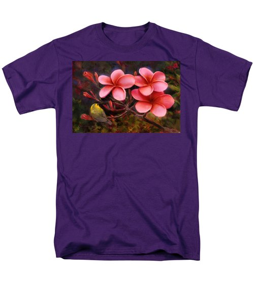 Men's T-Shirt  (Regular Fit) featuring the painting Hawaiian Pink Plumeria And Amakihi Bird by Karen Whitworth