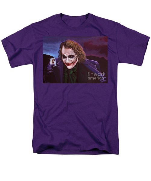 Heath Ledger As The Joker Painting Men's T-Shirt  (Regular Fit) by Paul Meijering