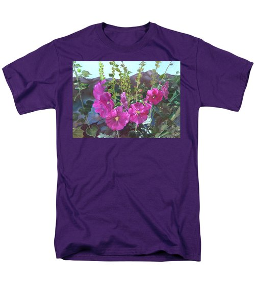 Men's T-Shirt  (Regular Fit) featuring the painting Hollyhock Necklace by Jane Autry