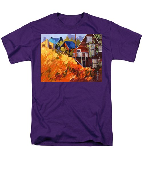 Men's T-Shirt  (Regular Fit) featuring the painting Houses On The Hill by Rae Andrews