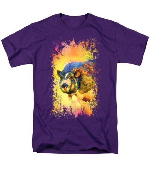 Jazzy Pig Colorful Animal Art By Jai Johnson Men's T-Shirt  (Regular Fit) by Jai Johnson