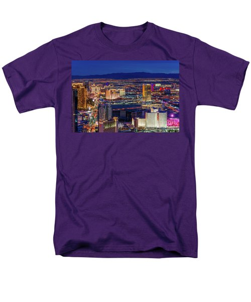 Men's T-Shirt  (Regular Fit) featuring the photograph Las Vegas Strip From The Stratosphere Wide by Aloha Art