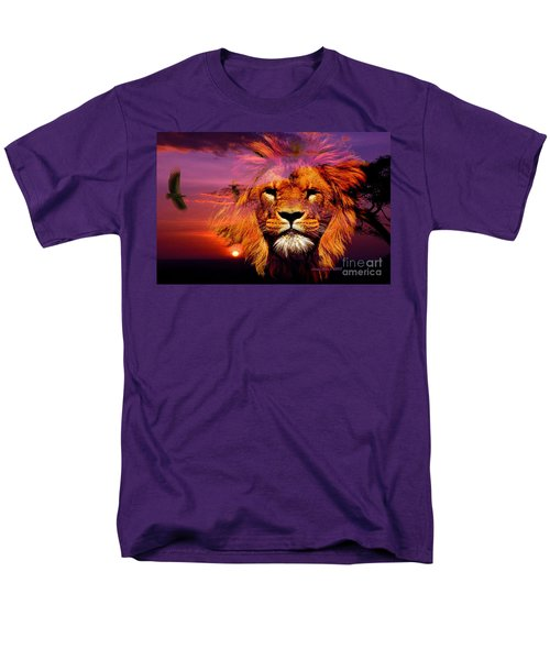 Lion And Eagle In A Sunset Men's T-Shirt  (Regular Fit) by Annie Zeno