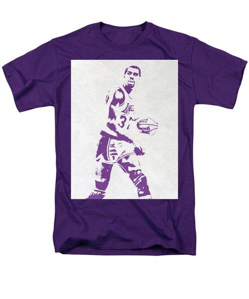 Magic Johnson Los Angeles Lakers Pixel Art Men's T-Shirt  (Regular Fit) by Joe Hamilton