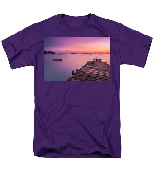Men's T-Shirt  (Regular Fit) featuring the photograph Maine Cooks Corner Lobster Shack At Sunset by Ranjay Mitra