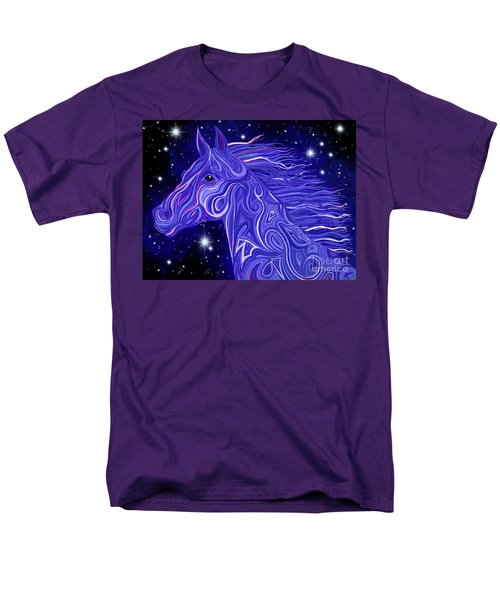 Men's T-Shirt  (Regular Fit) featuring the drawing Midnight Blue Mustang by Nick Gustafson