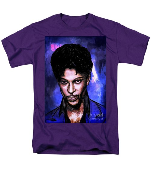 Men's T-Shirt  (Regular Fit) featuring the painting Music Legend  Prince by Andrzej Szczerski