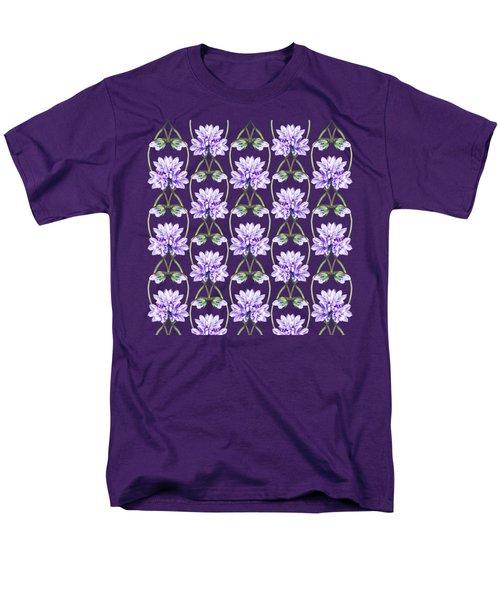 Purple Flowers Hearts Pattern Men's T-Shirt  (Regular Fit) by Irina Sztukowski