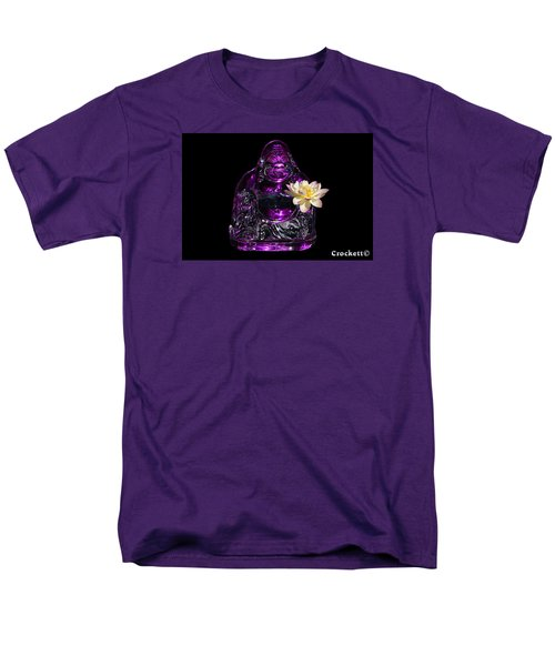 Men's T-Shirt  (Regular Fit) featuring the photograph Purple Glass Buddah With Yellow Lotus Flower by Gary Crockett