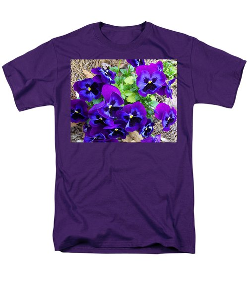 Men's T-Shirt  (Regular Fit) featuring the photograph Purple Pansies by Sandi OReilly