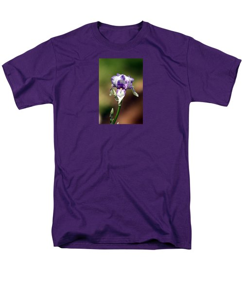 Men's T-Shirt  (Regular Fit) featuring the photograph Purple Striped Bearded Iris by Sheila Brown