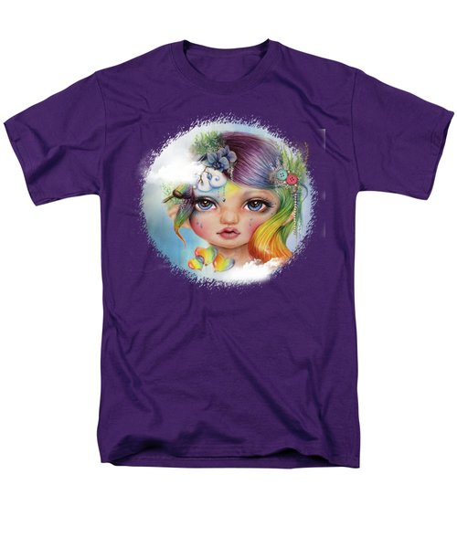 Men's T-Shirt  (Regular Fit) featuring the mixed media Rainbow Rosalie  by Sheena Pike