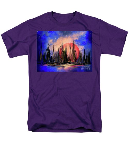 Men's T-Shirt  (Regular Fit) featuring the drawing Seaport by Andrzej Szczerski
