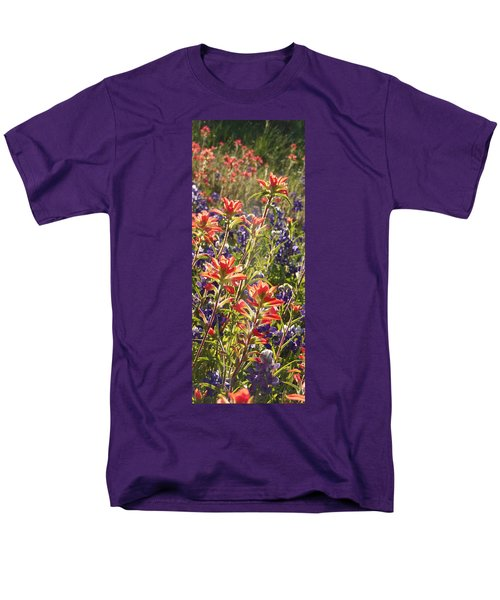 Men's T-Shirt  (Regular Fit) featuring the painting Sunlit Wild Flowers by Karen Kennedy Chatham