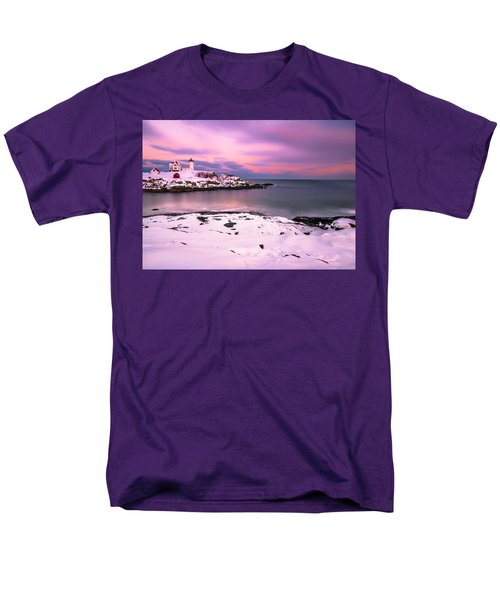 Sunset At Nubble Lighthouse In Maine In Winter Snow Men's T-Shirt  (Regular Fit) by Ranjay Mitra