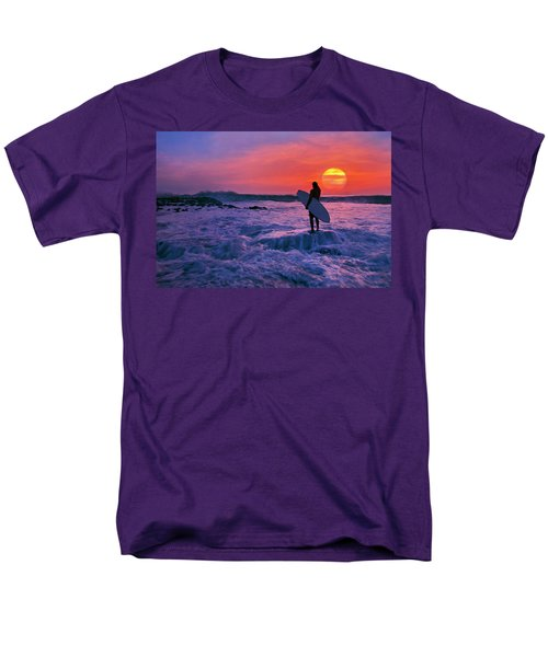 Surfer On Rock Looking Out From Blowing Rocks Preserve On Jupiter Island Men's T-Shirt  (Regular Fit) by Justin Kelefas