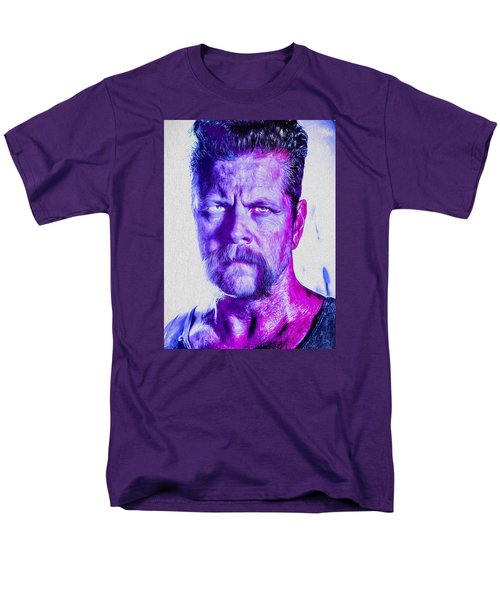 The Walking Dead Michael Cudlitz Sgt. Abraham Ford Painted Men's T-Shirt  (Regular Fit) by David Haskett
