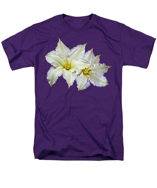Men's T-Shirt  (Regular Fit) featuring the photograph Two Clematis Flowers On Purple by Jane McIlroy