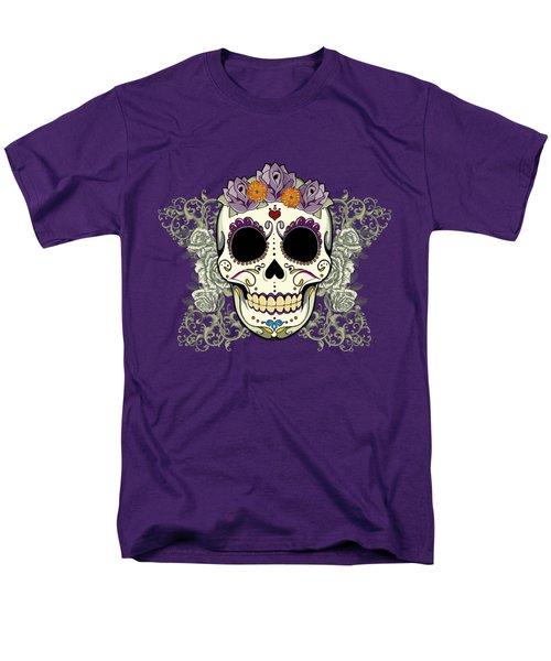 Vintage Sugar Skull And Flowers Men's T-Shirt  (Regular Fit) by Tammy Wetzel