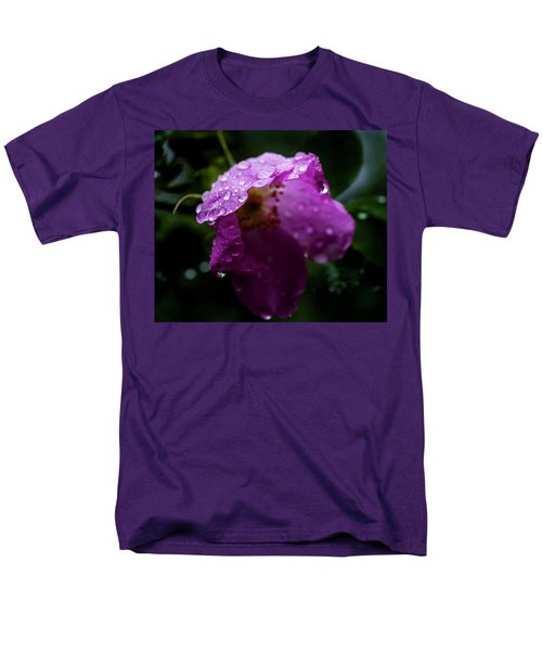 Men's T-Shirt  (Regular Fit) featuring the photograph Wet Wild Rose by Darcy Michaelchuk