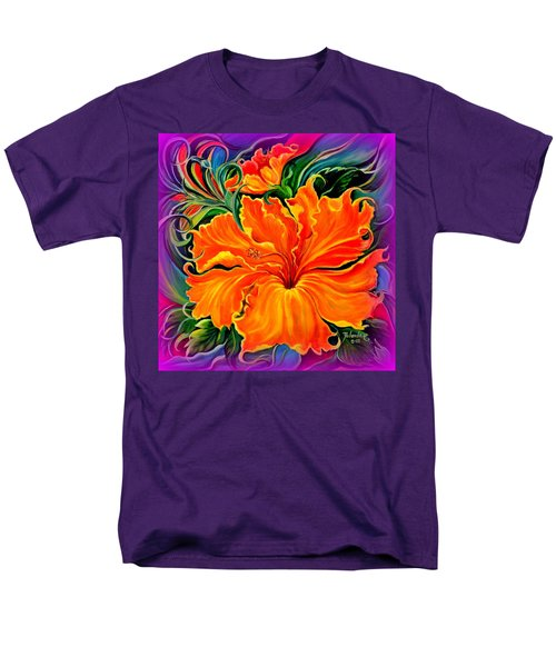 Men's T-Shirt  (Regular Fit) featuring the painting Wild Purple Hibiscus by Yolanda Rodriguez