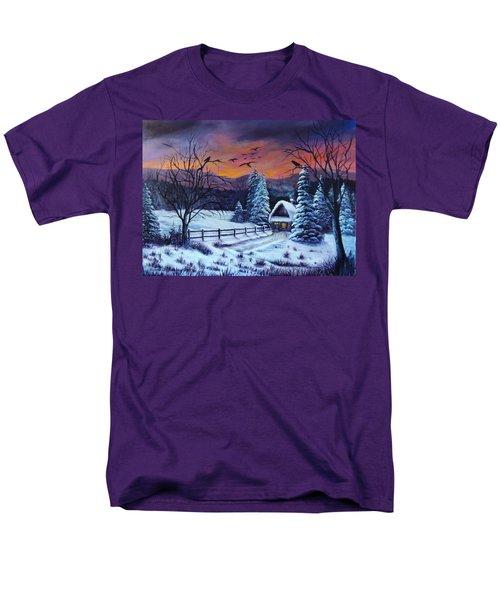 Men's T-Shirt  (Regular Fit) featuring the painting Winter Evening 2 by Bozena Zajaczkowska