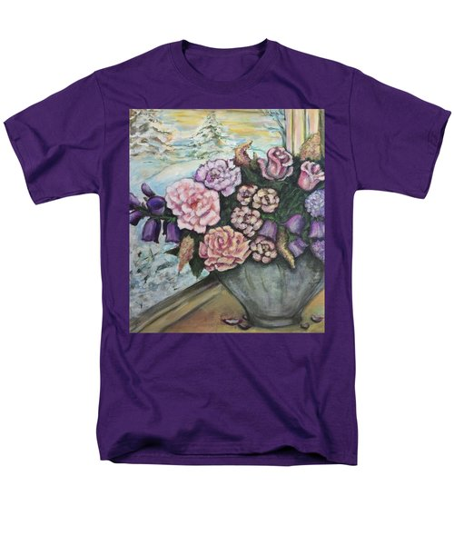 Men's T-Shirt  (Regular Fit) featuring the painting Winter Flowers by Rae Chichilnitsky
