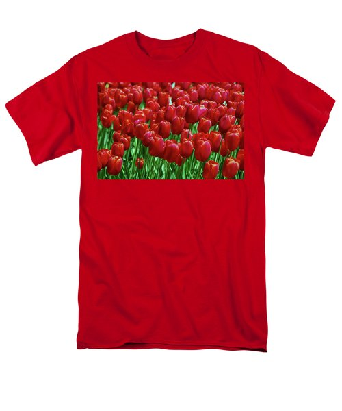 Men's T-Shirt  (Regular Fit) featuring the photograph Red Tulips  by Allen Beatty