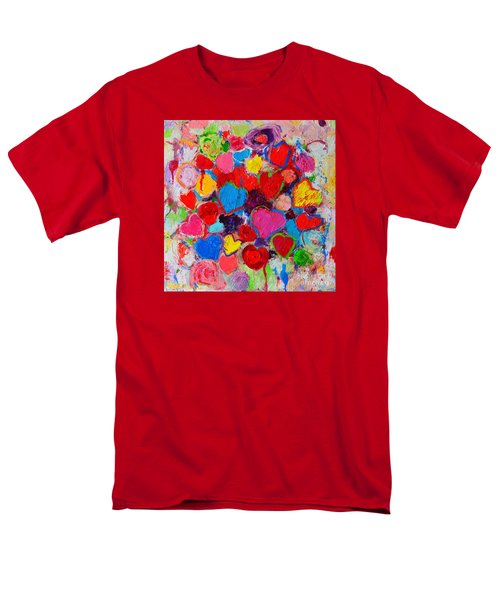 Abstract Love Bouquet Of Colorful Hearts And Flowers Men's T-Shirt  (Regular Fit) by Ana Maria Edulescu