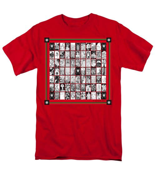 Men's T-Shirt  (Regular Fit) featuring the painting Album Quilt In Turkey Red And Poison Green by Carol Jacobs