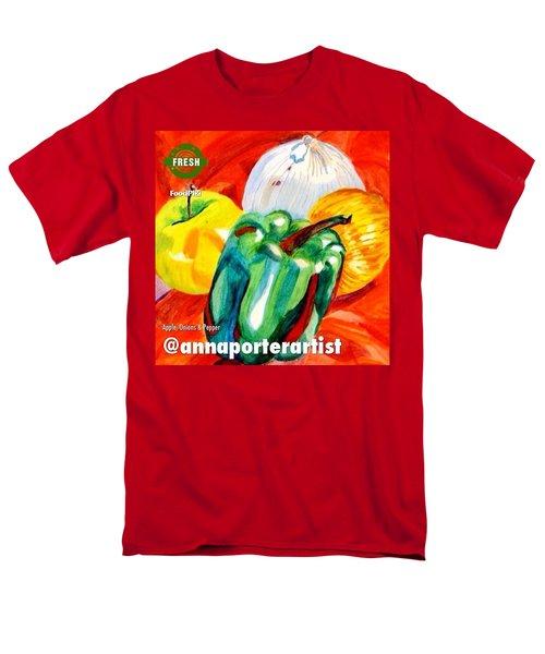 Apple, Onions And Pepper A Digital Edit Men's T-Shirt  (Regular Fit) by Anna Porter