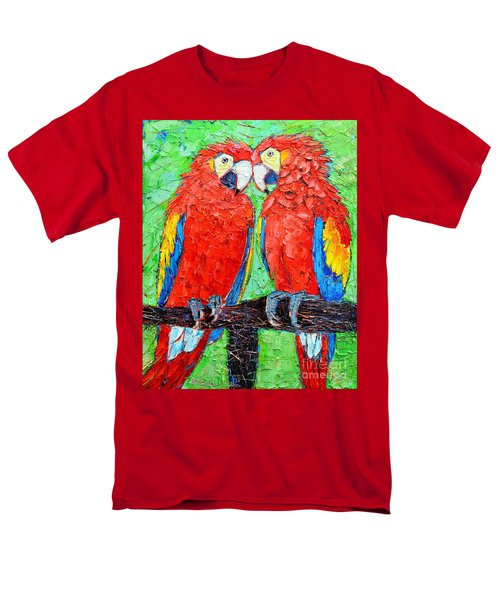 Ara Love A Moment Of Tenderness Between Two Scarlet Macaw Parrots Men's T-Shirt  (Regular Fit) by Ana Maria Edulescu