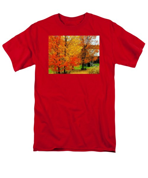 Men's T-Shirt  (Regular Fit) featuring the photograph Autumn Trees By Barn by Rodney Lee Williams