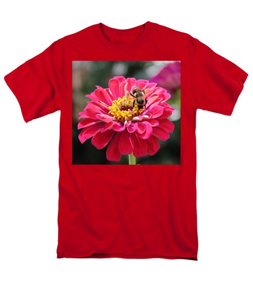 Men's T-Shirt  (Regular Fit) featuring the photograph Bee On Pink Flower by Cynthia Guinn