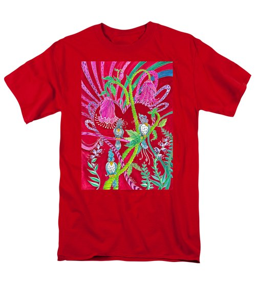 Men's T-Shirt  (Regular Fit) featuring the painting Blue Bird Trio And Heart by Adria Trail