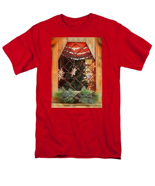 Men's T-Shirt  (Regular Fit) featuring the photograph Cabin Christmas Window by Nadalyn Larsen